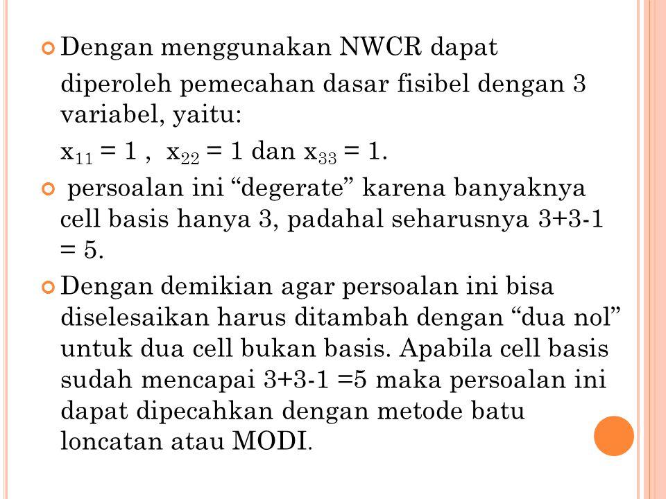 """Dengan menggunakan NWCR dapat diperoleh pemecahan dasar fisibel dengan 3 variabel, yaitu: x 11 = 1, x 22 = 1 dan x 33 = 1. persoalan ini """"degerate"""" ka"""