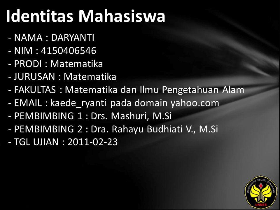 Identitas Mahasiswa - NAMA : DARYANTI - NIM : 4150406546 - PRODI : Matematika - JURUSAN : Matematika - FAKULTAS : Matematika dan Ilmu Pengetahuan Alam