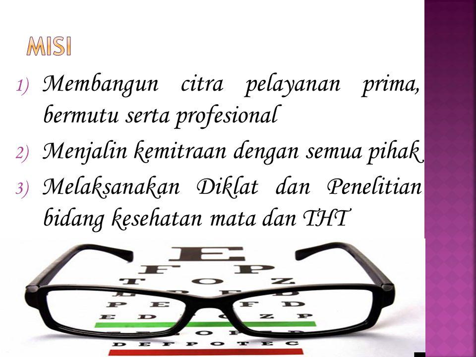 1) Membangun citra pelayanan prima, bermutu serta profesional 2) Menjalin kemitraan dengan semua pihak 3) Melaksanakan Diklat dan Penelitian bidang kesehatan mata dan THT