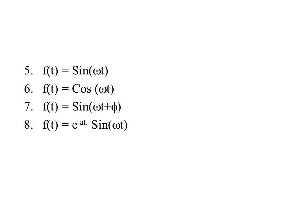 5.f(t) = Sin(  t) 6.f(t) = Cos (  t) 7.f(t) = Sin(  t+  ) 8.f(t) = e -at. Sin(  t)