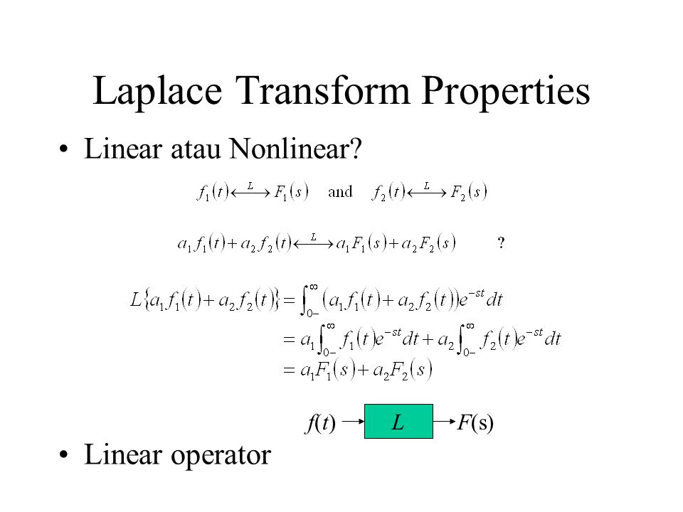 L F(s)f(t)f(t) Laplace Transform Properties Linear atau Nonlinear Linear operator