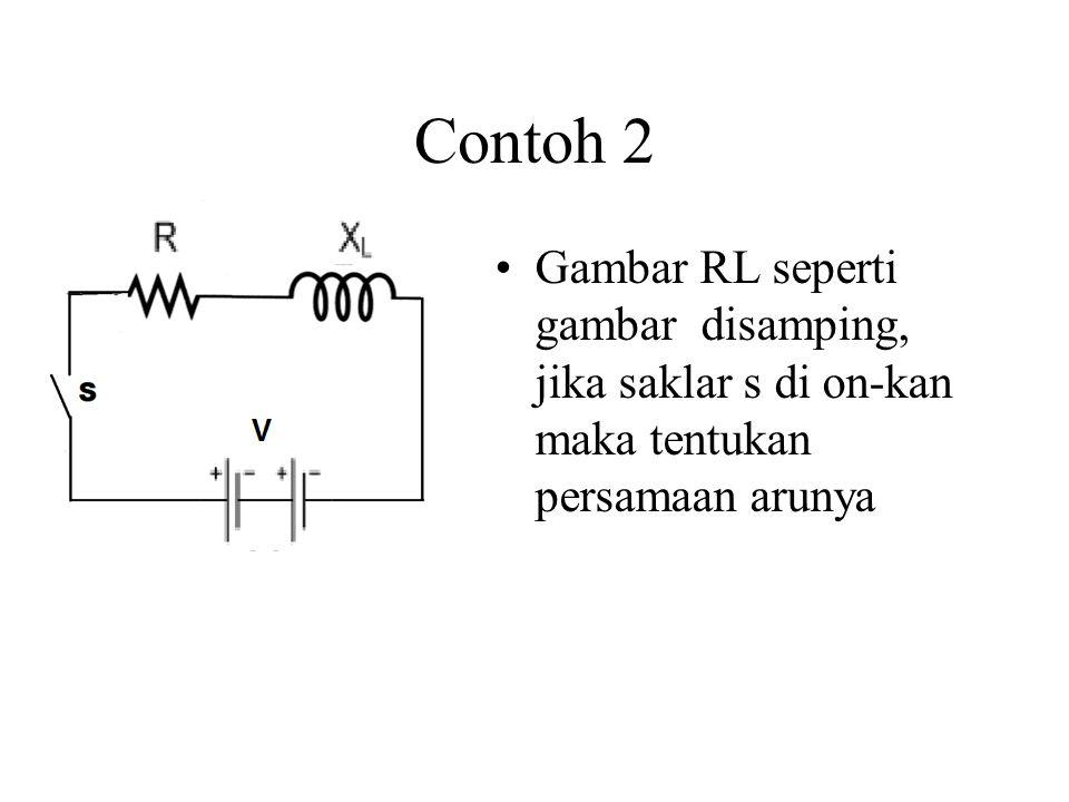 Contoh 2 Gambar RL seperti gambar disamping, jika saklar s di on-kan maka tentukan persamaan arunya
