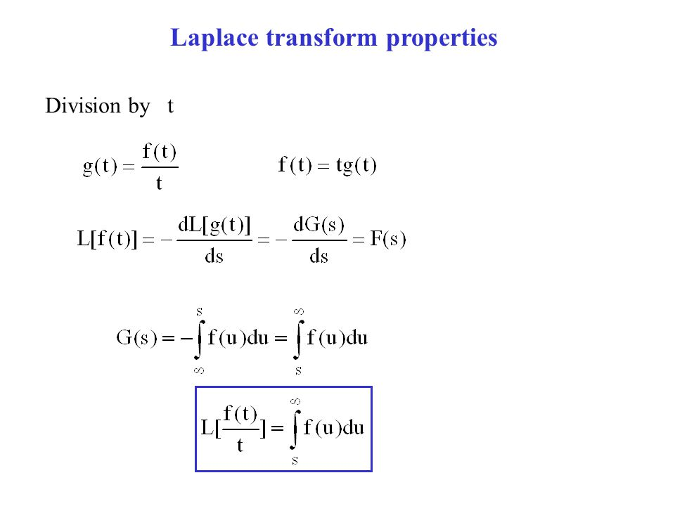Laplace transform properties Division by t