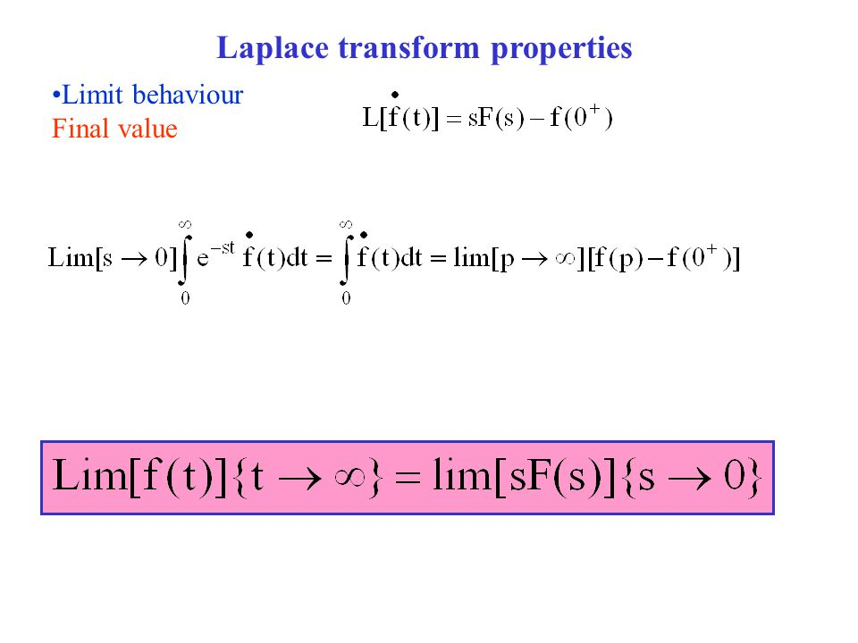 Limit behaviour Final value Laplace transform properties