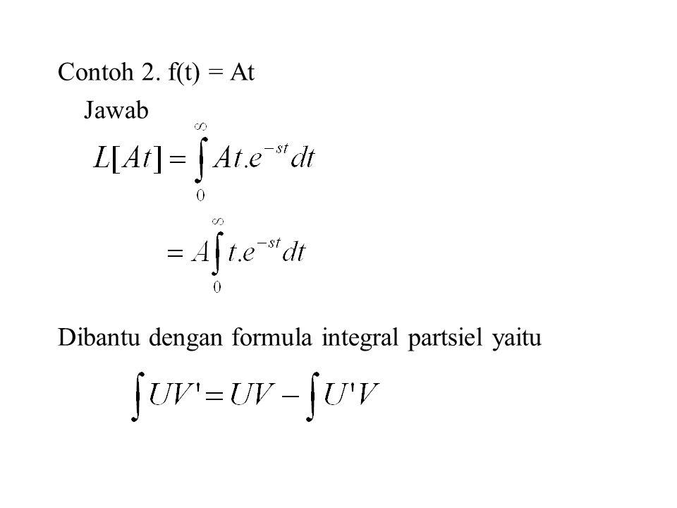 Contoh 2. f(t) = At Jawab Dibantu dengan formula integral partsiel yaitu