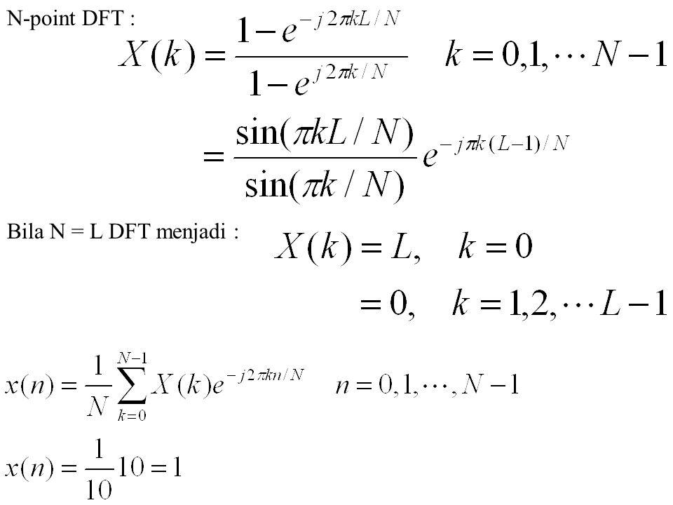 N-point DFT : Bila N = L DFT menjadi :