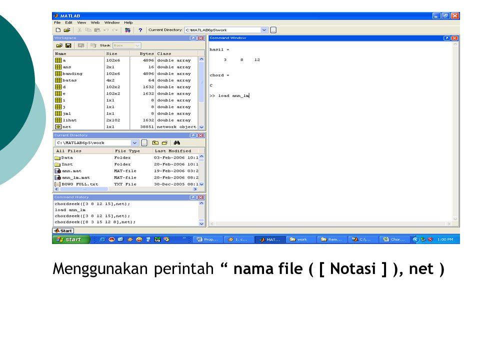 """Menggunakan perintah """" nama file ( [ Notasi ] ), net )"""