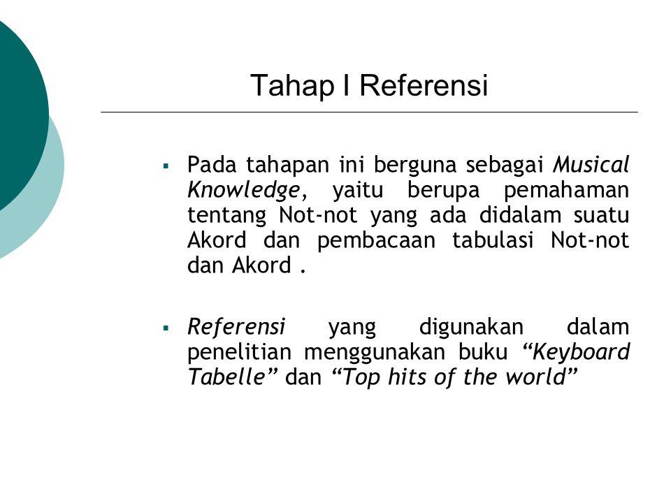 Tahap II Tabel dan Not Tahapan ini berfungsi untuk menterjemahkan hasil yang didapat dari pembacaan akord dan notasi pada tabulasi untuk dijadikan output berupa tabel Not yang ternumerisasi.