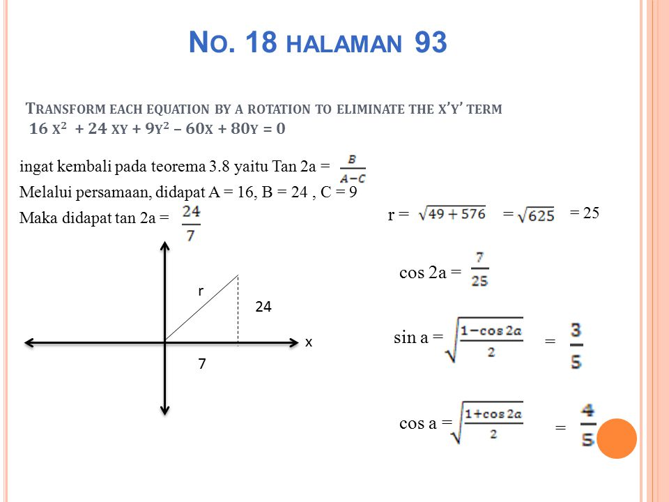 T RANSFORM EACH EQUATION BY A ROTATION TO ELIMINATE THE X ' Y ' TERM 16 X 2 + 24 XY + 9 Y 2 – 60 X + 80 Y = 0 ingat kembali pada teorema 3.8 yaitu Tan