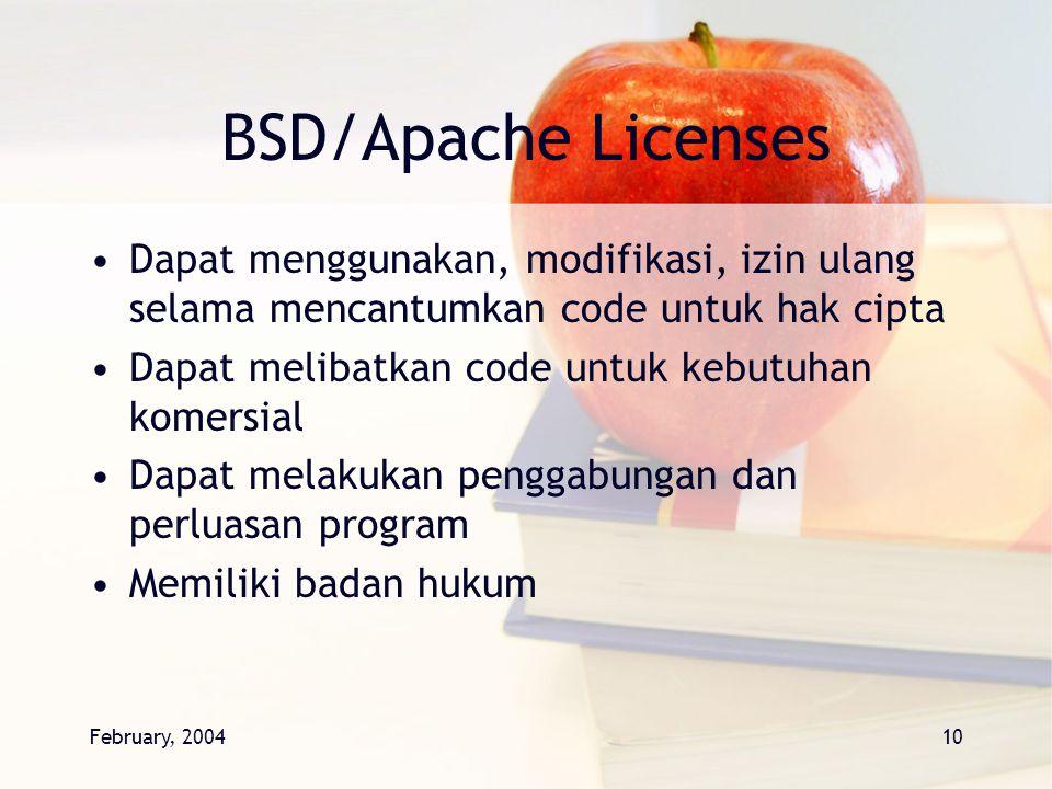February, 200410 BSD/Apache Licenses Dapat menggunakan, modifikasi, izin ulang selama mencantumkan code untuk hak cipta Dapat melibatkan code untuk ke