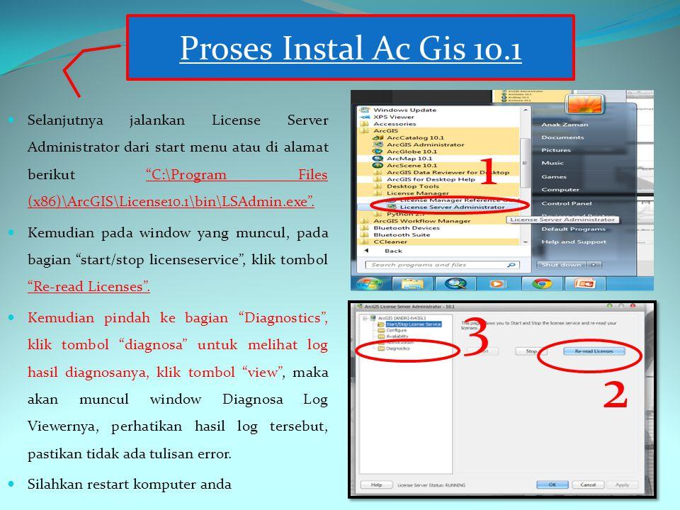 Selanjutnya jalankan License Server Administrator dari start menu atau di alamat berikut C:\Program Files (x86)\ArcGIS\License10.1\bin\LSAdmin.exe .