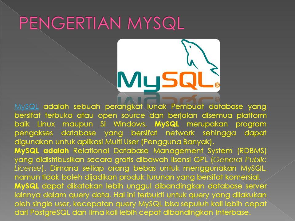 MySQLMySQL adalah sebuah perangkat lunak Pembuat database yang bersifat terbuka atau open source dan berjalan disemua platform baik Linux maupun Si Windows, MySQL merupakan program pengakses database yang bersifat network sehingga dapat digunakan untuk aplikasi Multi User (Pengguna Banyak).