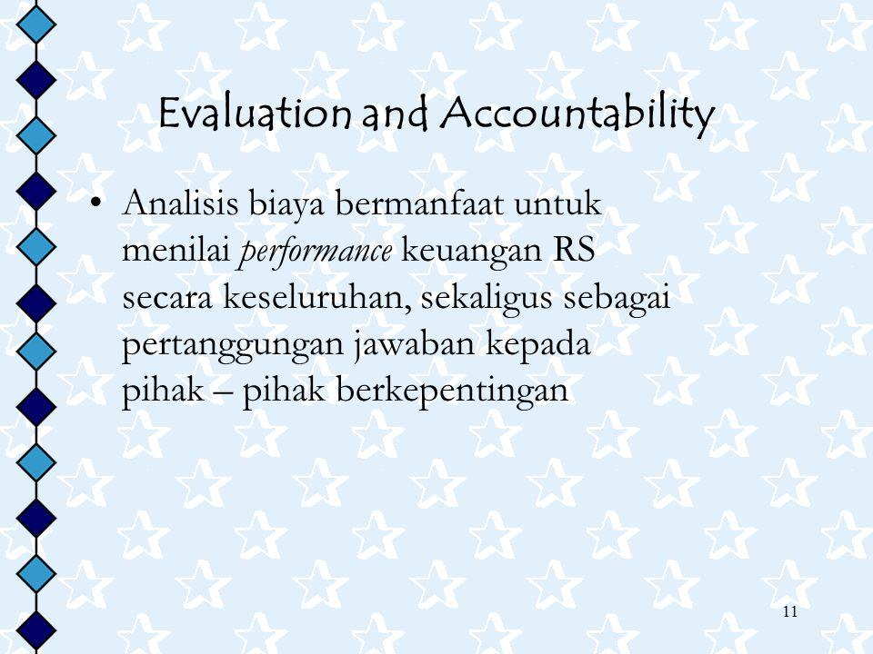 11 Evaluation and Accountability Analisis biaya bermanfaat untuk menilai performance keuangan RS secara keseluruhan, sekaligus sebagai pertanggungan j