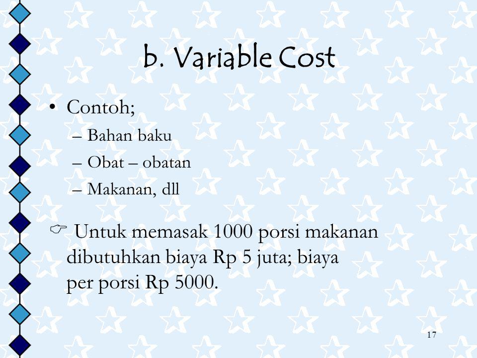 17 b. Variable Cost Contoh; –Bahan baku –Obat – obatan –Makanan, dll  Untuk memasak 1000 porsi makanan dibutuhkan biaya Rp 5 juta; biaya per porsi Rp