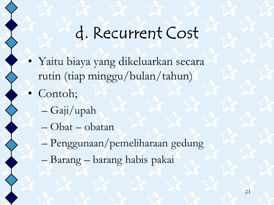 21 d. Recurrent Cost Yaitu biaya yang dikeluarkan secara rutin (tiap minggu/bulan/tahun) Contoh; –Gaji/upah –Obat – obatan –Penggunaan/pemeliharaan ge