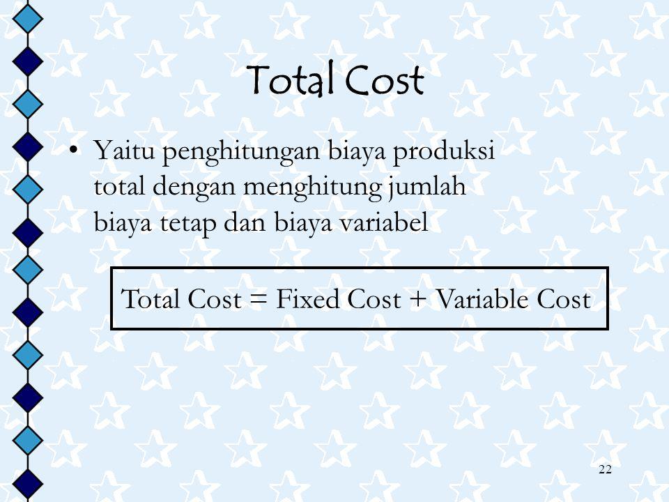 22 Total Cost Yaitu penghitungan biaya produksi total dengan menghitung jumlah biaya tetap dan biaya variabel Total Cost = Fixed Cost + Variable Cost