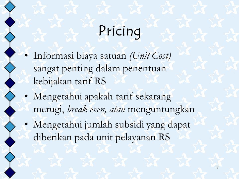 8 Pricing Informasi biaya satuan (Unit Cost) sangat penting dalam penentuan kebijakan tarif RS Mengetahui apakah tarif sekarang merugi, break even, at