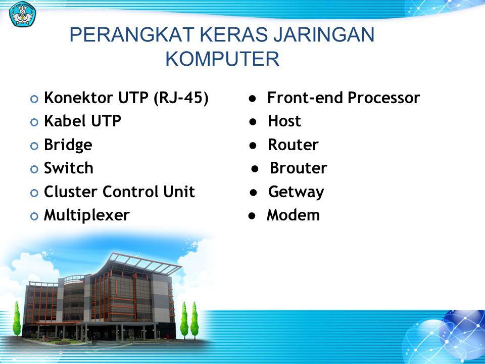 PERANGKAT KERAS JARINGAN KOMPUTER Konektor UTP (RJ-45) ● Front-end Processor Kabel UTP ● Host Bridge ● Router Switch ● Brouter Cluster Control Unit ●