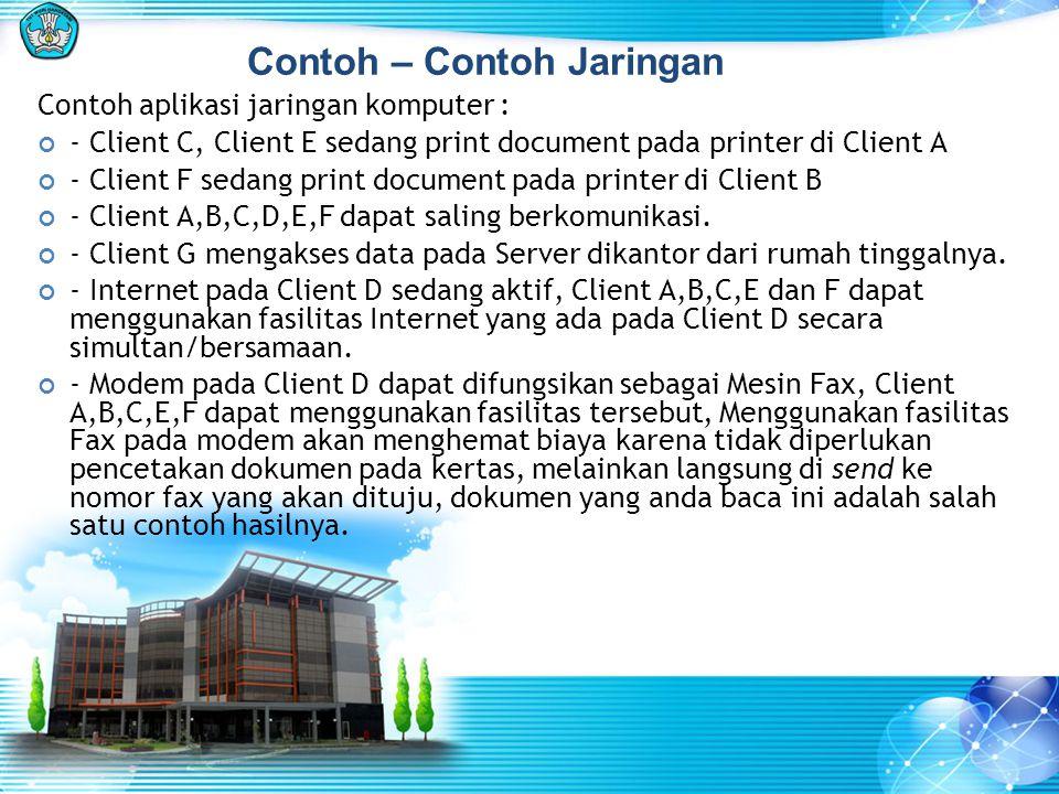 Contoh aplikasi jaringan komputer : - Client C, Client E sedang print document pada printer di Client A - Client F sedang print document pada printer