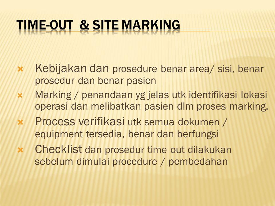  Kebijakan dan prosedure benar area/ sisi, benar prosedur dan benar pasien  Marking / penandaan yg jelas utk identifikasi lokasi operasi dan melibatkan pasien dlm proses marking.