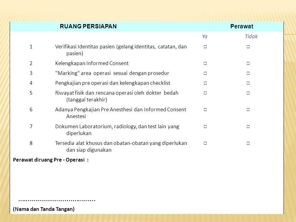 RUANG PERSIAPAN Perawat YaTidak 1Verifikasi Identitas pasien (gelang identitas, catatan, dan pasien) □ □ 2Kelengkapan Informed Consent □ □ 3