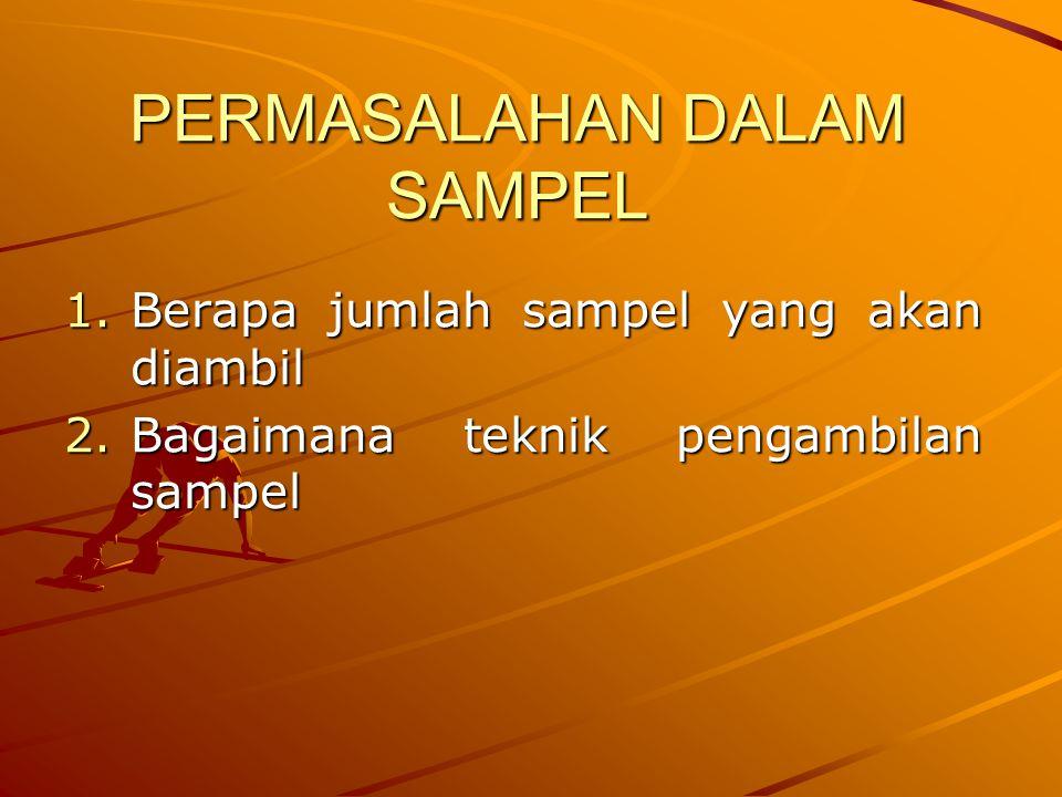 PERMASALAHAN DALAM SAMPEL 1.Berapa jumlah sampel yang akan diambil 2.Bagaimana teknik pengambilan sampel