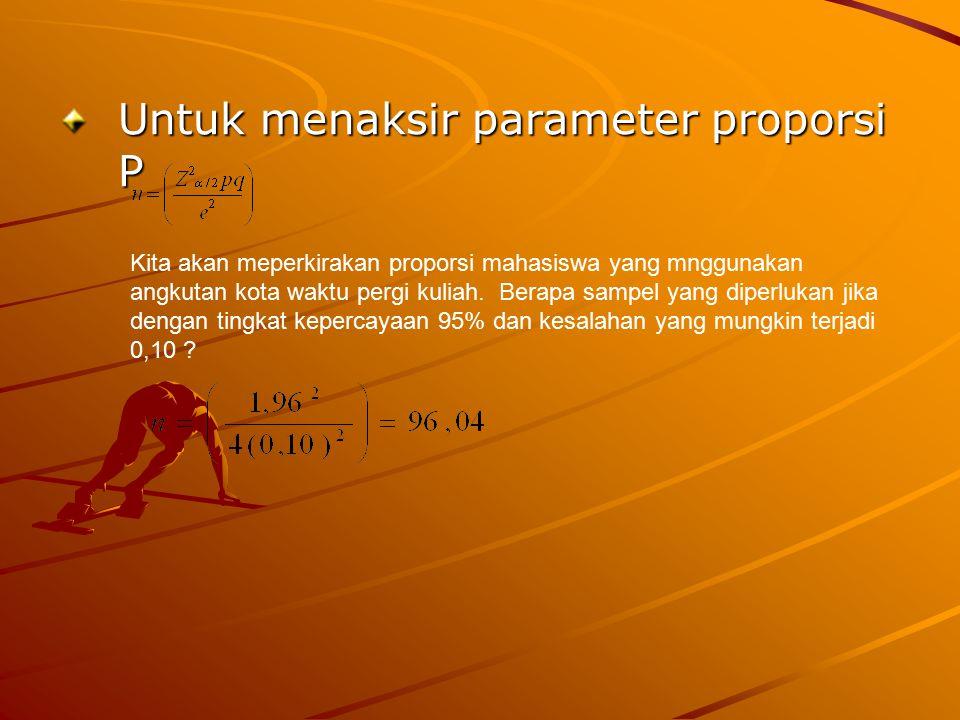 Untuk menaksir parameter proporsi P Kita akan meperkirakan proporsi mahasiswa yang mnggunakan angkutan kota waktu pergi kuliah. Berapa sampel yang dip
