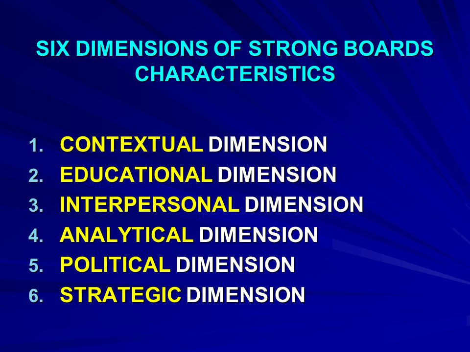 ROLES AND RESPONSIBILITY OF THE BOARD GOVERNANCE AND MANAGEMENT : CEO RELATIONS, SELECTION, AND EVALUATION MISSION DEVELOPMENT AND EVALUATION STRATEGIC PLANNING MEDICAL STAFF RELATIONS FINANCIAL OVERSIGHT HOSPITAL AND COMMUNITY ADVOCACY