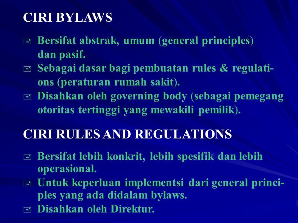Wharton UU, peraturan, regulasi, perintah dan konstitusi korporasi guna tatakelola anggota-anggotanya.