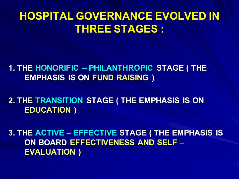 GOVERNING BOARD THE GOVERNING BOARD IS THE ULTIMATE AUTHORITY OF THE HOSPITAL AND PROVIDES OVERSIGHT AND DIRECTION FOR THE PLANNING,OPERATION, AND EVALUATION OF ALL PROGRAMS, SERVICES, AND ACTIVITIES.