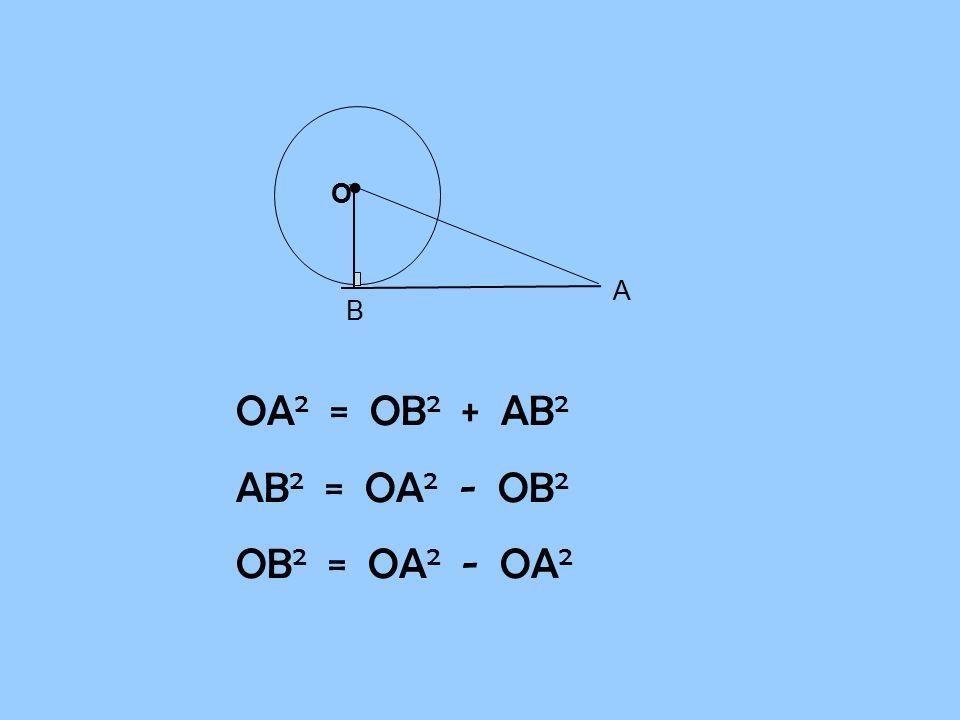 B A O OA 2 = OB 2 + AB 2 AB 2 = OA 2 - OB 2 OB 2 = OA 2 - OA 2