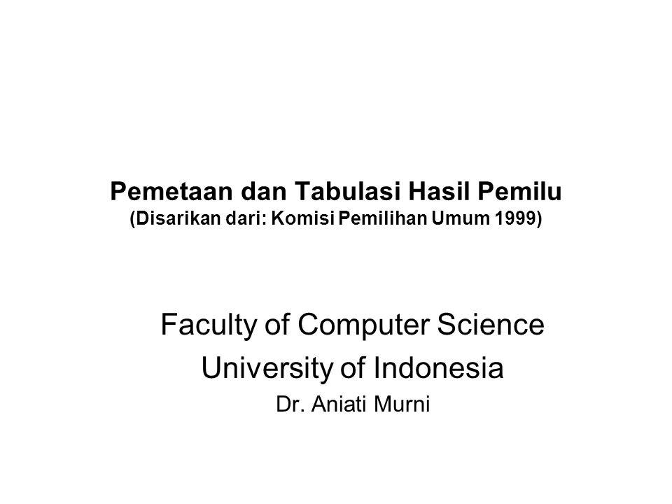 Pemetaan dan Tabulasi Hasil Pemilu (Disarikan dari: Komisi Pemilihan Umum 1999) Faculty of Computer Science University of Indonesia Dr.