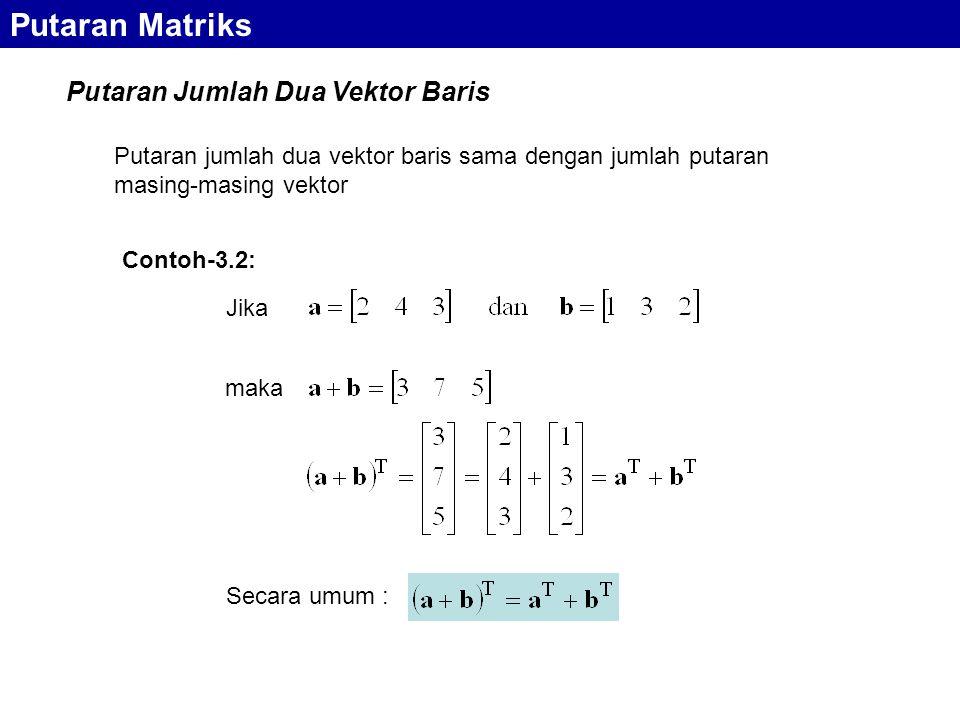 Putaran Jumlah Dua Vektor Baris Putaran Matriks Putaran jumlah dua vektor baris sama dengan jumlah putaran masing-masing vektor Jika maka Secara umum