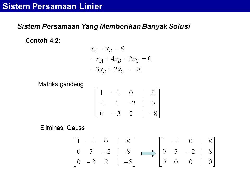 Sistem Persamaan Linier Sistem Persamaan Yang Memberikan Banyak Solusi Matriks gandeng Eliminasi Gauss Contoh-4.2: