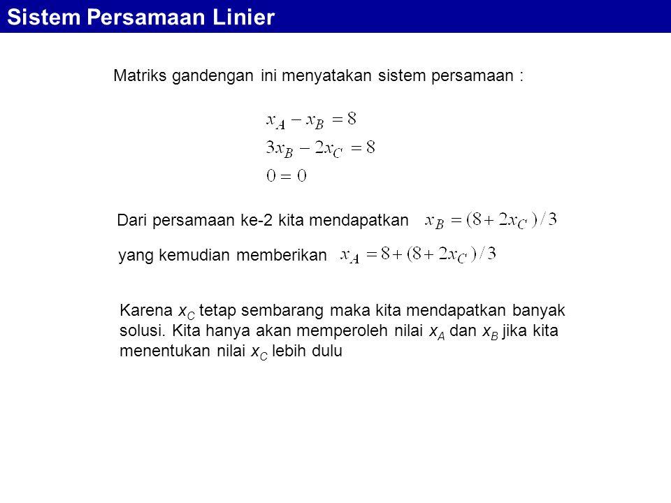 Sistem Persamaan Linier Matriks gandengan ini menyatakan sistem persamaan : Dari persamaan ke-2 kita mendapatkan yang kemudian memberikan Karena x C t