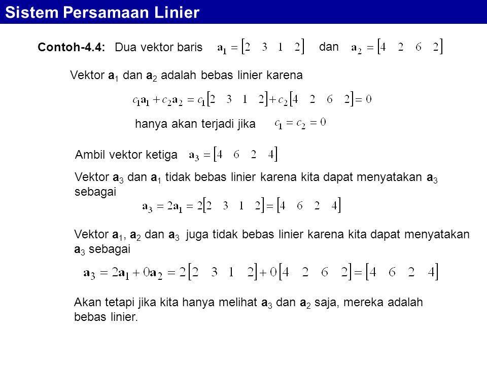 Sistem Persamaan Linier Contoh-4.4: Dua vektor baris dan Vektor a 1 dan a 2 adalah bebas linier karena hanya akan terjadi jika Ambil vektor ketiga Vek