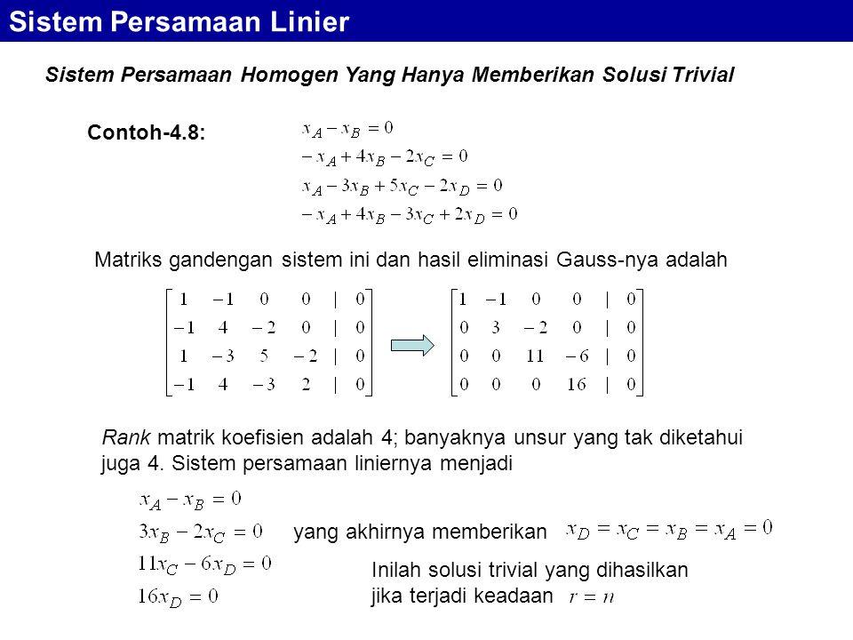Sistem Persamaan Homogen Yang Hanya Memberikan Solusi Trivial Sistem Persamaan Linier Matriks gandengan sistem ini dan hasil eliminasi Gauss-nya adala