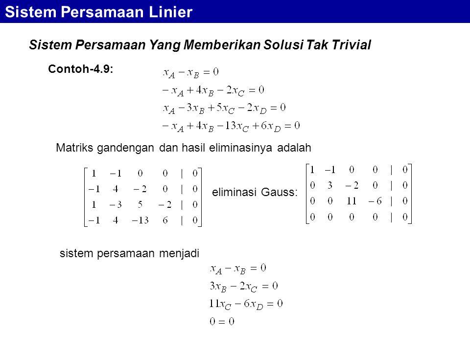 Sistem Persamaan Yang Memberikan Solusi Tak Trivial Sistem Persamaan Linier Matriks gandengan dan hasil eliminasinya adalah Contoh-4.9: eliminasi Gaus