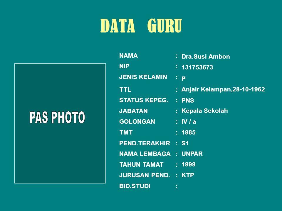 NAMA: NIP: JENIS KELAMIN: TTL: STATUS KEPEG.: JABATAN: GOLONGAN: TMT: PEND.TERAKHIR: NAMA LEMBAGA: TAHUN TAMAT: JURUSAN PEND.: BID.STUDI: Yulida Susanti, S.Pd 132222058 P Banjarmasin, 23-07-1970 PNS Guru III / c 01.- 04.- 2005 S1 1995 BIOLOGI DATA GURU