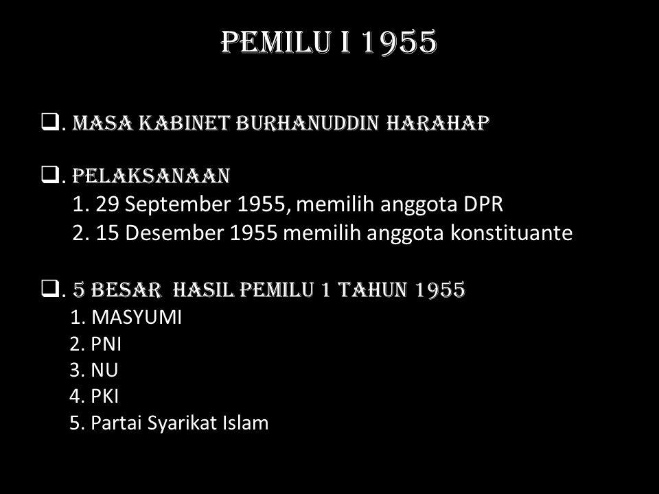 Pemilu I 1955 . Masa Kabinet Burhanuddin Harahap . Pelaksanaan 1. 29 September 1955, memilih anggota DPR 2. 15 Desember 1955 memilih anggota konstit