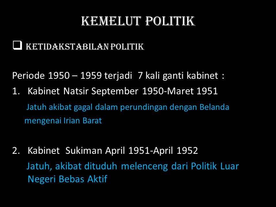 Kemelut Politik  Ketidakstabilan Politik Periode 1950 – 1959 terjadi 7 kali ganti kabinet : 1. Kabinet Natsir September 1950-Maret 1951 Jatuh akibat