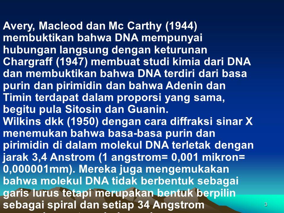 3 Avery, Macleod dan Mc Carthy (1944) membuktikan bahwa DNA mempunyai hubungan langsung dengan keturunan Chargraff (1947) membuat studi kimia dari DNA