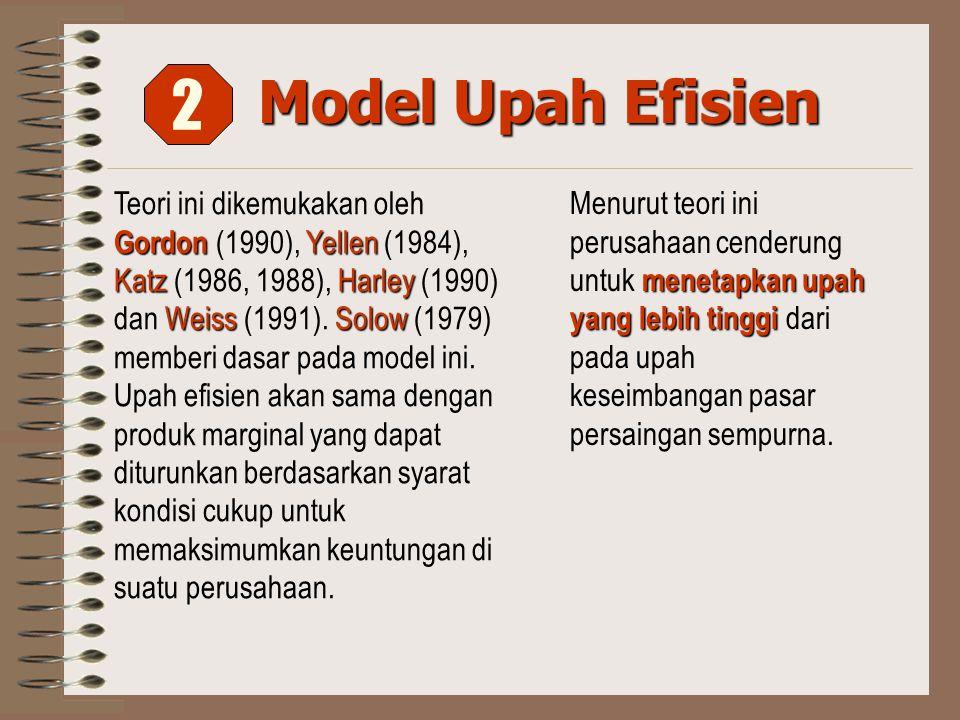 Model Upah Efisien Gordon Yellen KatzHarley WeissSolow Teori ini dikemukakan oleh Gordon (1990), Yellen (1984), Katz (1986, 1988), Harley (1990) dan Weiss (1991).
