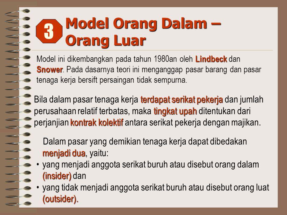 Model Orang Dalam – Orang Luar Lindbeck Snower Model ini dikembangkan pada tahun 1980an oleh Lindbeck dan Snower.