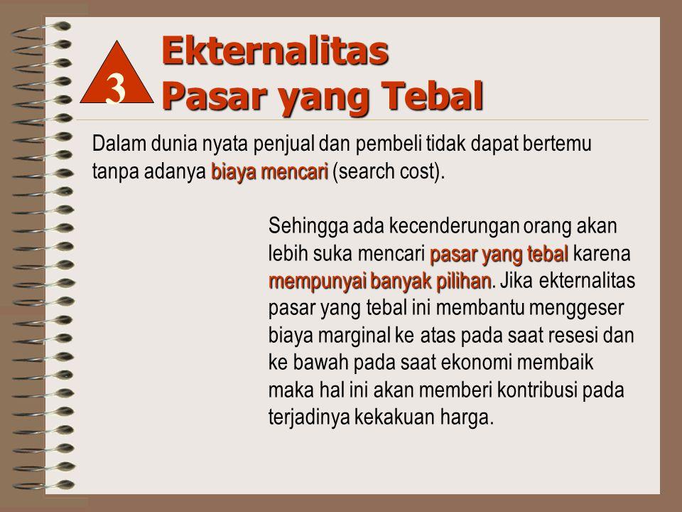 Ekternalitas Pasar yang Tebal biaya mencari Dalam dunia nyata penjual dan pembeli tidak dapat bertemu tanpa adanya biaya mencari (search cost).