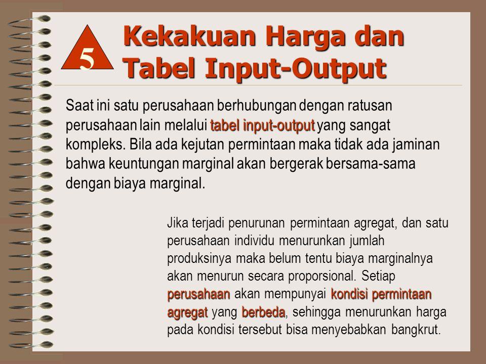 Kekakuan Harga dan Tabel Input-Output tabel input-output Saat ini satu perusahaan berhubungan dengan ratusan perusahaan lain melalui tabel input-output yang sangat kompleks.