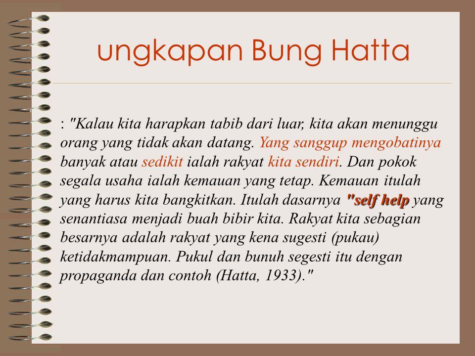 ungkapan Bung Hatta self help : Kalau kita harapkan tabib dari luar, kita akan menunggu orang yang tidak akan datang.
