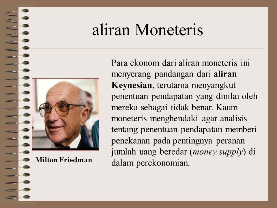 aliran Moneteris Para ekonom dari aliran moneteris ini menyerang pandangan dari aliran Keynesian, terutama menyangkut penentuan pendapatan yang dinilai oleh mereka sebagai tidak benar.