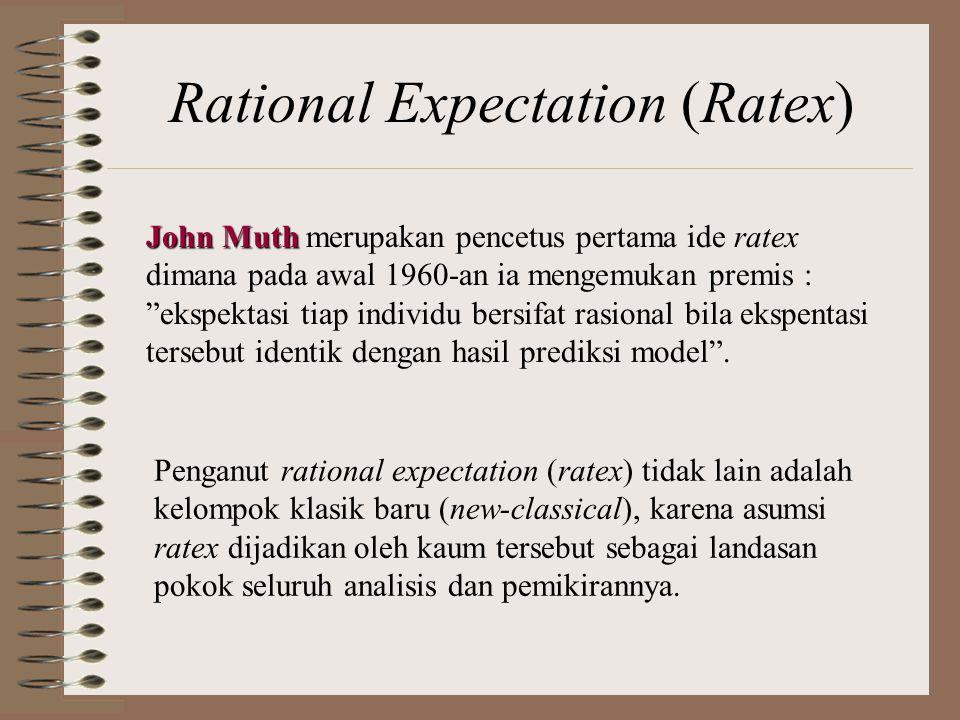 Rational Expectation (Ratex) Penganut rational expectation (ratex) tidak lain adalah kelompok klasik baru (new-classical), karena asumsi ratex dijadikan oleh kaum tersebut sebagai landasan pokok seluruh analisis dan pemikirannya.