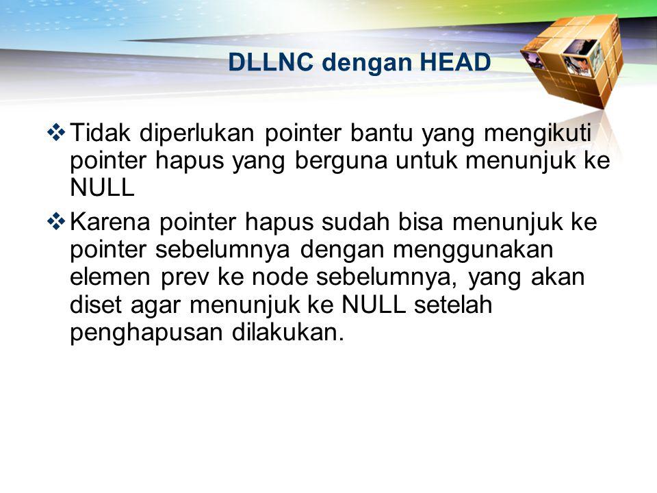 DLLNC dengan HEAD  Tidak diperlukan pointer bantu yang mengikuti pointer hapus yang berguna untuk menunjuk ke NULL  Karena pointer hapus sudah bisa